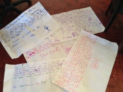 The students' stories. They got to write on the BOG paper with markers!